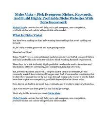 Niche Vista Review & (Secret) $22,300 bonus