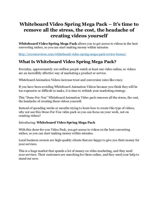 Whiteboard Video Spring Mega Pack review - A cool weapon! Whiteboard Video Spring Mega Pack Review