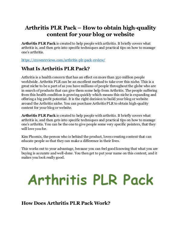 Arthritis PLR Pack Review - MASSIVE $23,800 BONUSES NOW! Arthritis PLR Pack review - I was shocked!