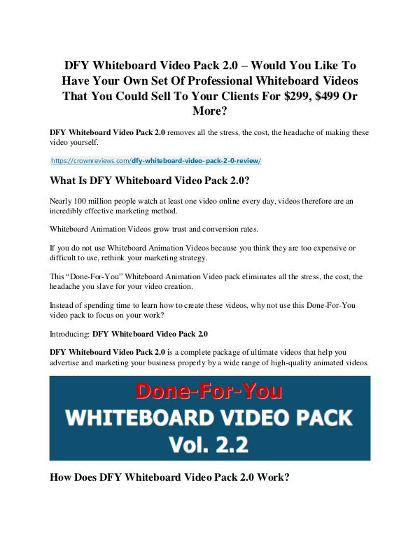 DFY Whiteboard Video Pack 2.0 review - I was shocked! DFY Whiteboard Video Pack 2.0 Review