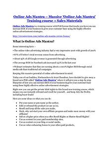 Markeitng Online Ads Mantra Detail Review and Online Ads Mantra $22,700 Bonus