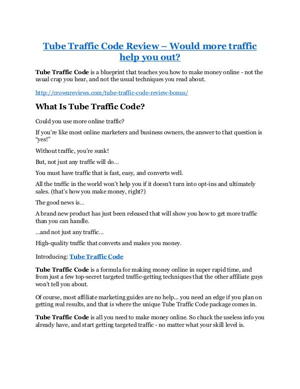 Markeitng Tube Traffic Code Review & GIANT bonus packs