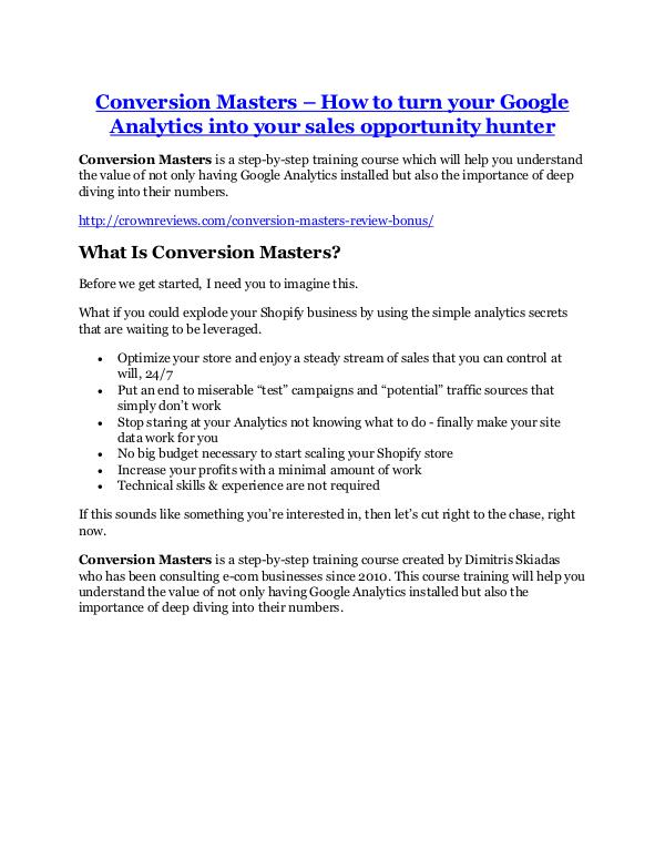 Markeitng Conversion Masters Review-(Free) bonus and discoun