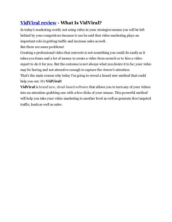 Markeitng VidViral Review - $24,700 BONUS & DISCOUNT
