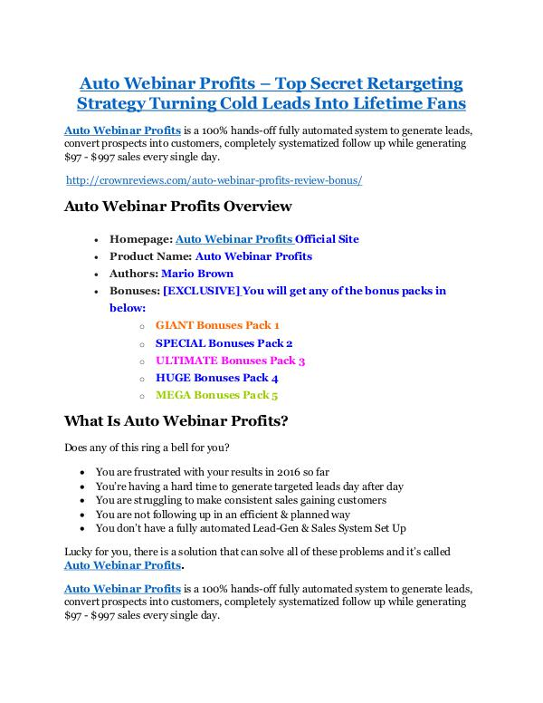 MarketingAuto Webinar Profits Review-MEGA $22,400 Bonus & 65% DISCOUNT Auto Webinar Profits review demo and premium bonus