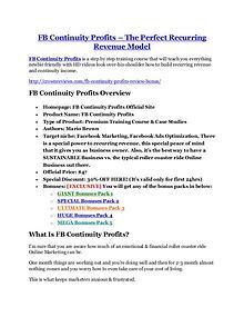 Markeitng FB Continuity Profits review and (SECRET) $13600 bonus