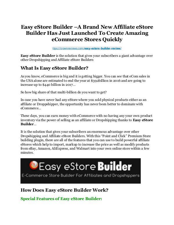 Easy eStore Builder review & (GIANT) $24,700 bonus NOW Easy eStore Builder Review