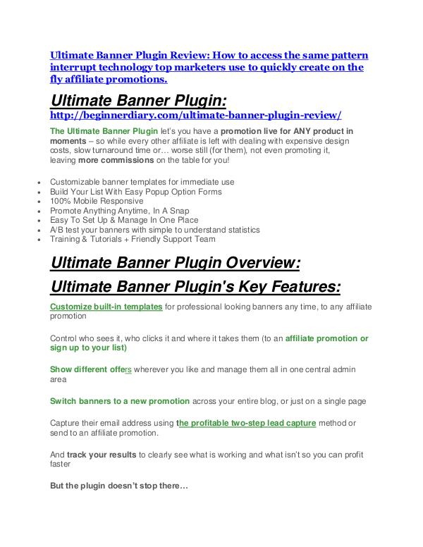 Ultimate Banner Plugin Detail Review and Ultimate Banner Plugin $22,700 Bonus Ultimate Banner Plugin Review & (Secret) $22,300 bonus