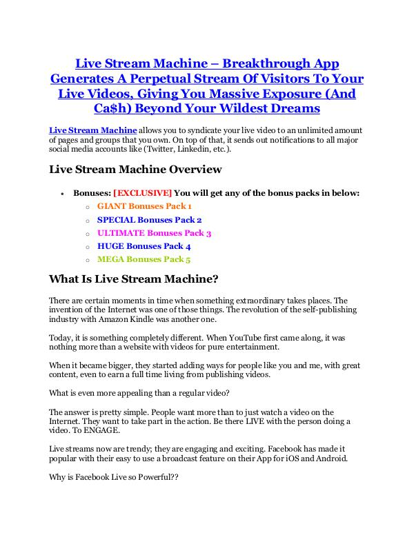 Live Stream Machine review- Live Stream Machine $27,300 bonus & discount