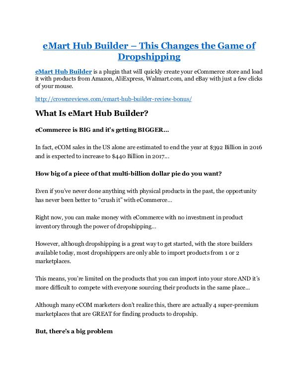 eMart Hub Builder review-SECRETS of eMart Hub Builder and $16800 BONUS eMart Hub Builder review-$26,800 bonus & discount