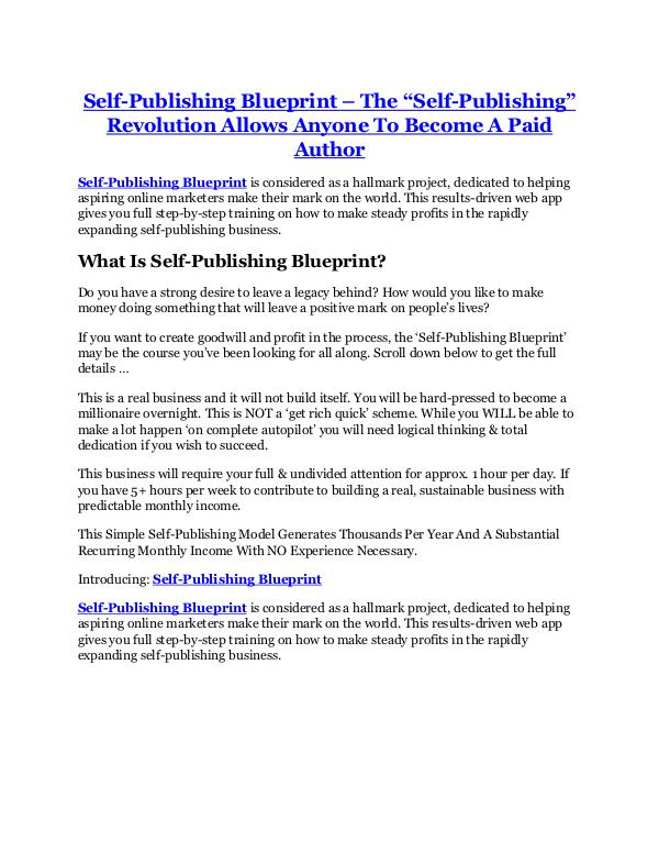 Self-Publishing Blueprint review in detail and (FREE) $21400 bonus Self-Publishing Blueprint review & (GIANT) $24,700 bonus