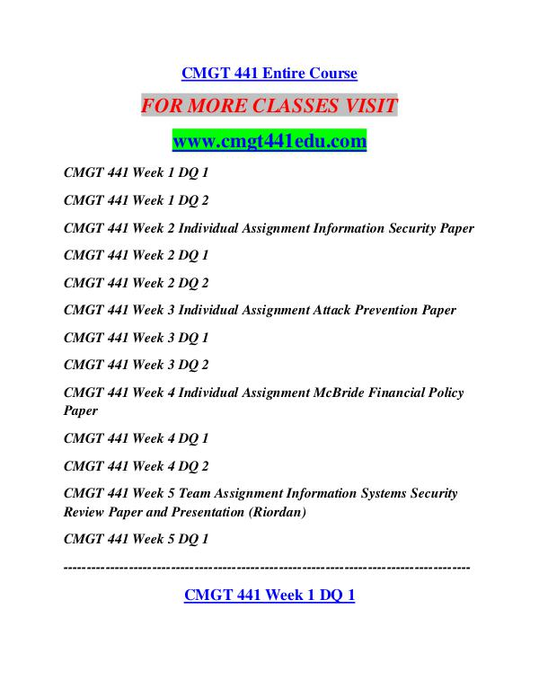 cmgt 441 week 4 paper This pack of cmgt 441 week 4 mcbride financial policy paper includes: loan department policy $2400 – purchase this solution checkout added to cart.