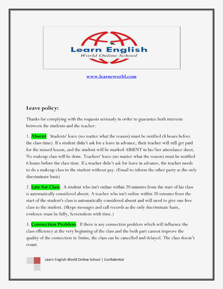Learn English World Online School - Leave Policy Learn English World Online School For Teachers