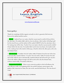 Learn English World Online School - Leave Policy