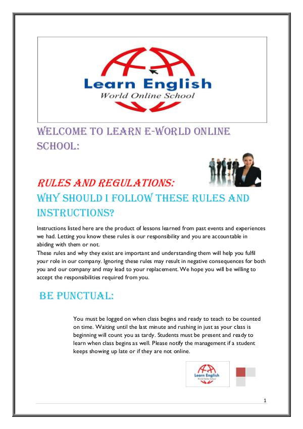 Rules and Regulations - Learn English World Online School Rules and Regulations - Learn English World Online