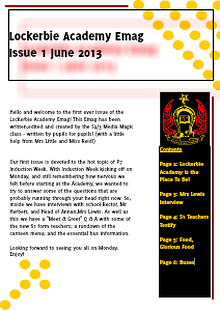 Lockerbie Academy News Release: Induction Week