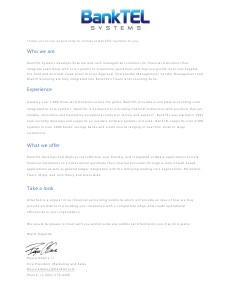 BankTEL Systems Letter of Introduction