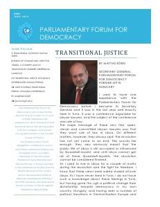 Parliamentary Forum for Democracy News June, 2013
