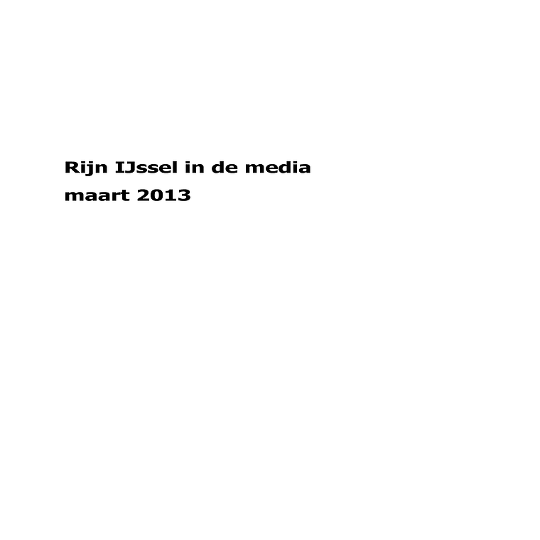 Rijn IJssel in de media maart 2013