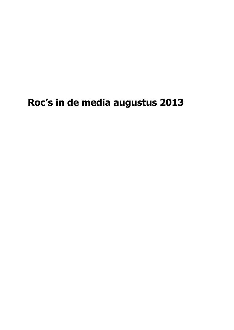 roc's in de media augustus 2013