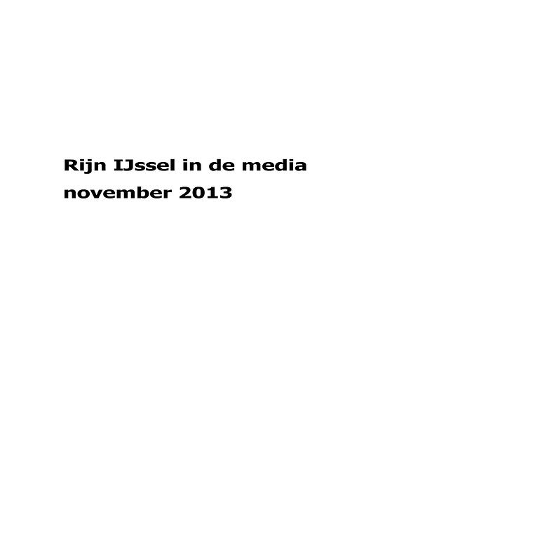 Rijn IJssel in de media november 2013
