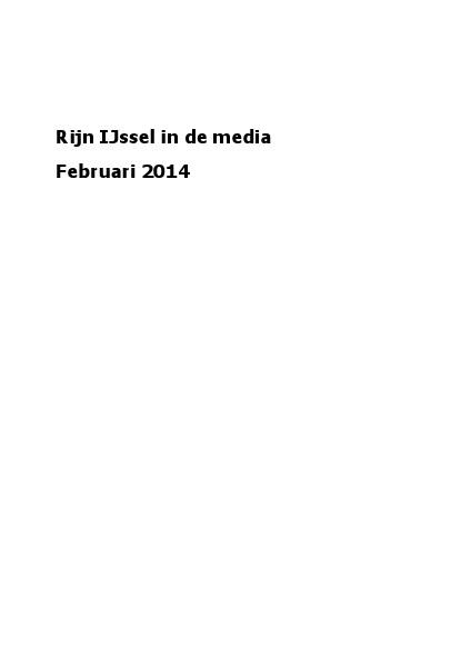 Rijn IJssel in de media februari 2014
