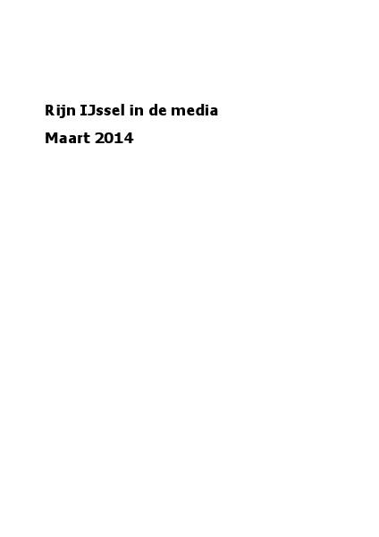 Rijn IJssel in de media maart 2014