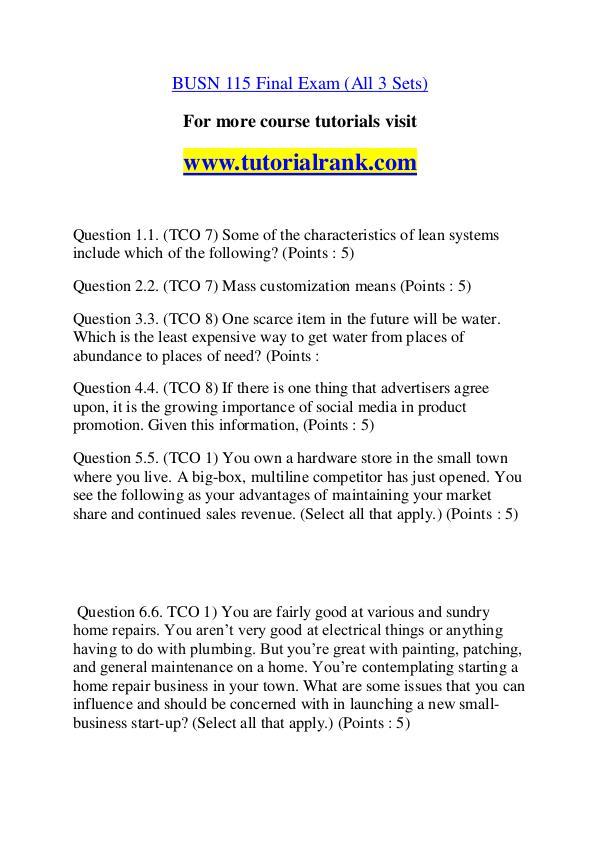 BUSN 115 Course Great Wisdom / tutorialrank.com BUSN 115 Course Great Wisdom / tutorialrank.com
