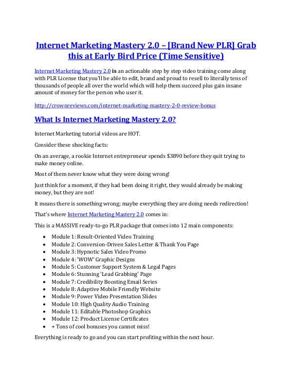 Marketing Internet Marketing Mastery 2.0 Review & (BIGGEST) jaw-drop bonuses