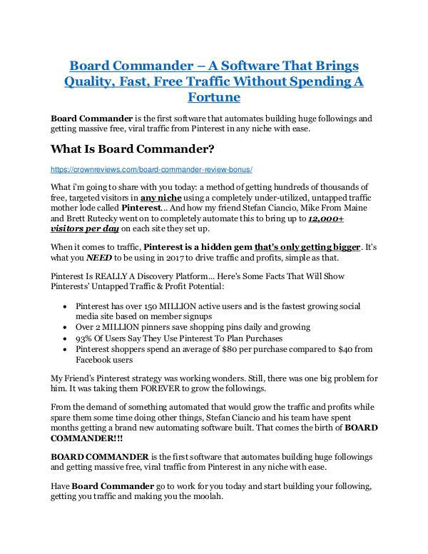Marketing Board Commander Review - Board Commander DEMO & BO