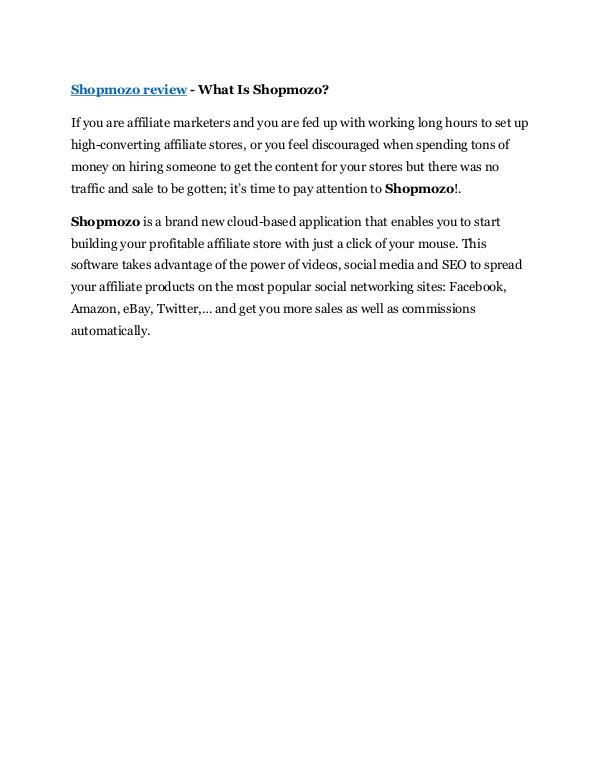 Marketing Shopmozo Review - Shopmozo +100 items