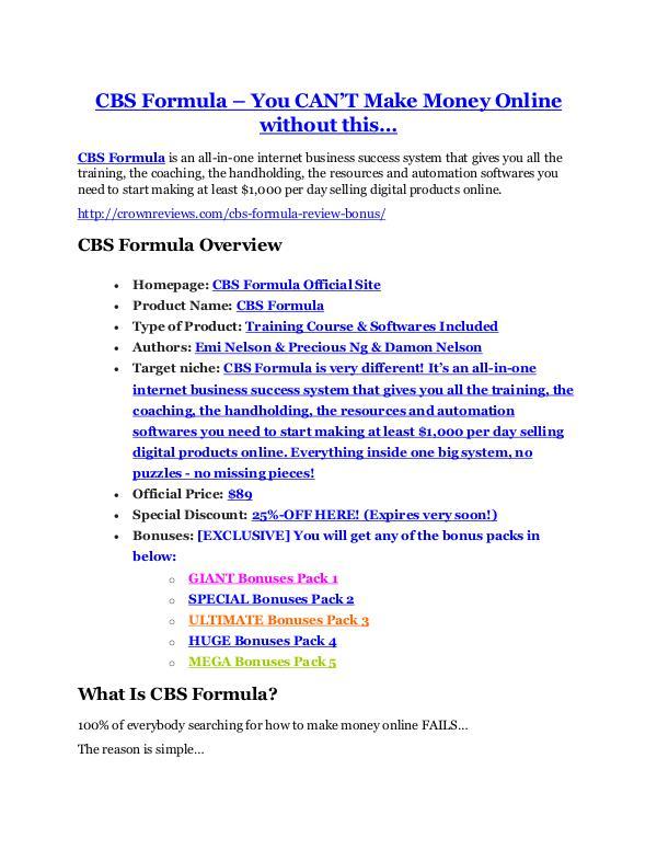 Marketing CBS Formula Detail Review and CBS Formula $22,700 Bonus