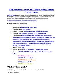 Marketing CBS Formula Detail Review and CBS Formula $22,700 Bonus