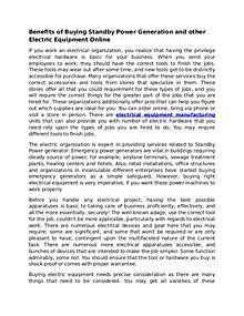 Benefits of Buying Electric Equipment Online