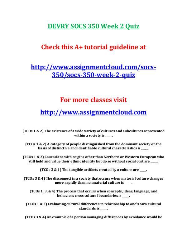 SOCS 350 Devry entire course DEVRY SOCS 350 Week 2 Quiz