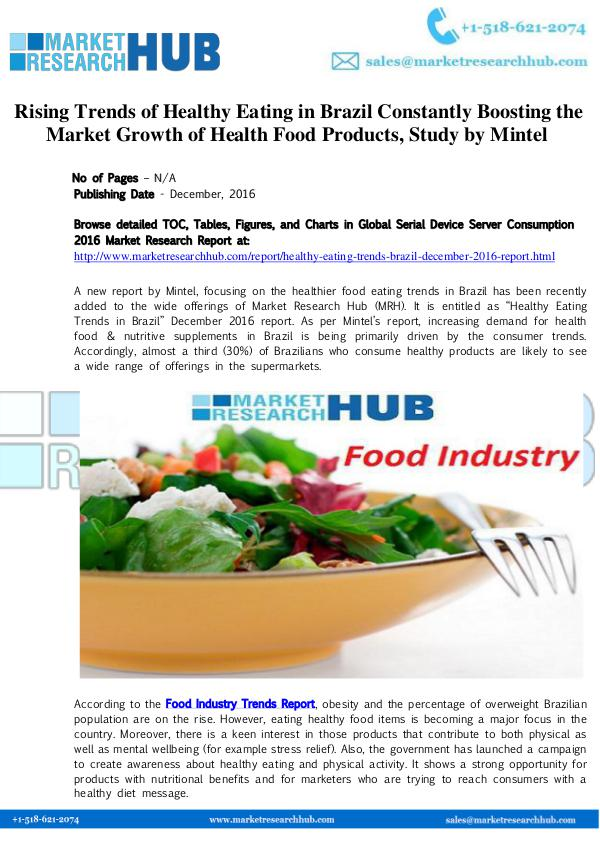 Market Research Report Rising Trends of Healthy Eating in Brazil  Market