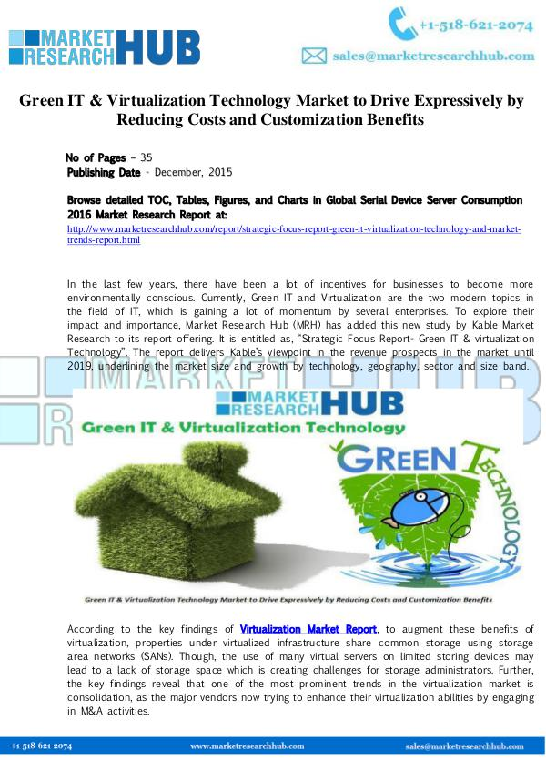 Market Research Report Green IT & Virtualization Technology Market Report
