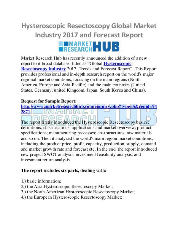 Market Research Report Global Hysteroscopic Resectoscopy Market  Rebort