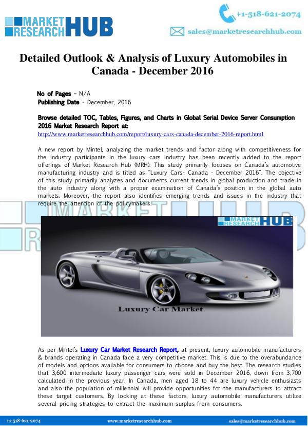 Market Research Report Detailed Outlook & Analysis of Luxury Automobiles