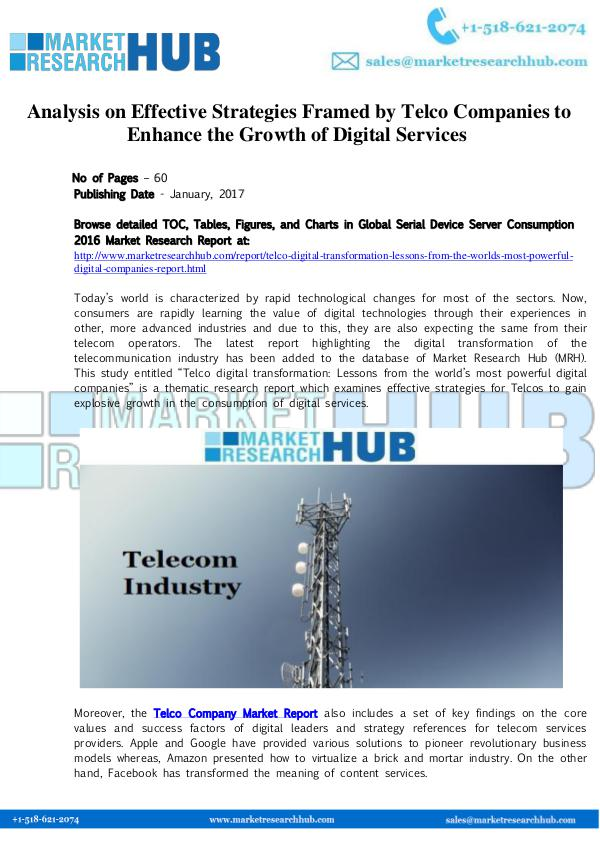 Market Research Report Analysis on Effective Strategies Framed by Telco