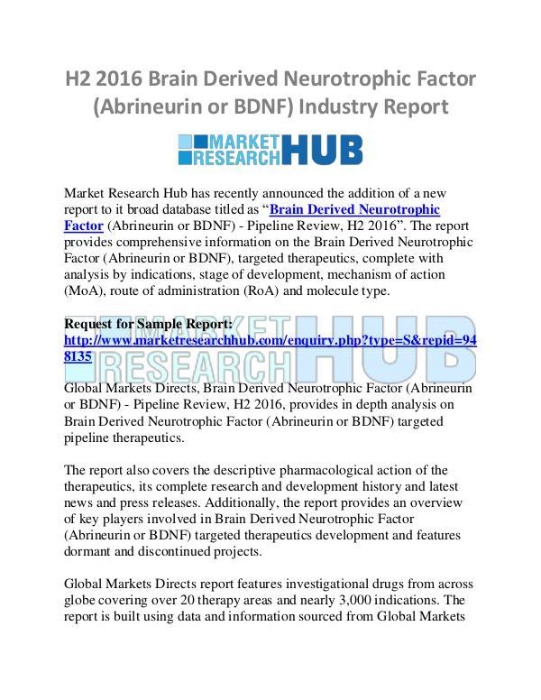 Market Research Report H2 Brain Derived Neurotrophic Factor Market Report