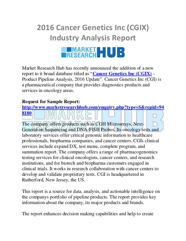 Market Research Report 2016 Cancer Genetics Inc (CGIX) Industry Analysis