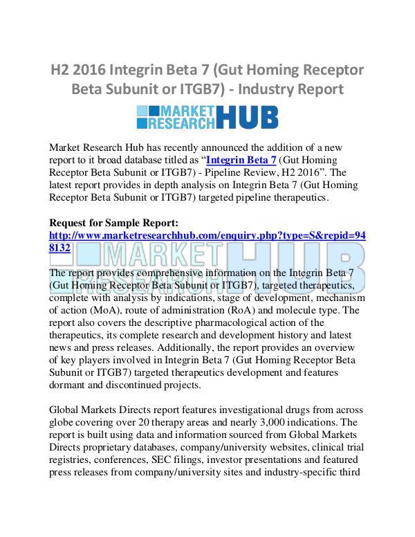 Market Research Report Gut Homing Receptor Beta Subunit or ITGB7 Market