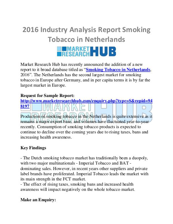 Market Research Report 2016 Industry Analysis Report of Smoking Tobacco