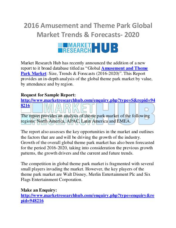 Market Research Report Amusement and Theme Park Global Market Trends