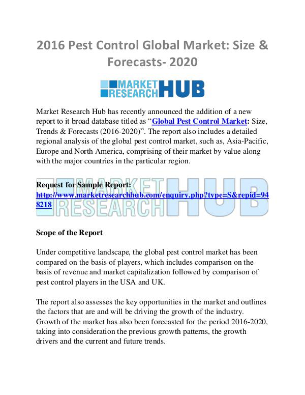 Market Research Report Pest Control Global Market: Size & Forecasts- 2020