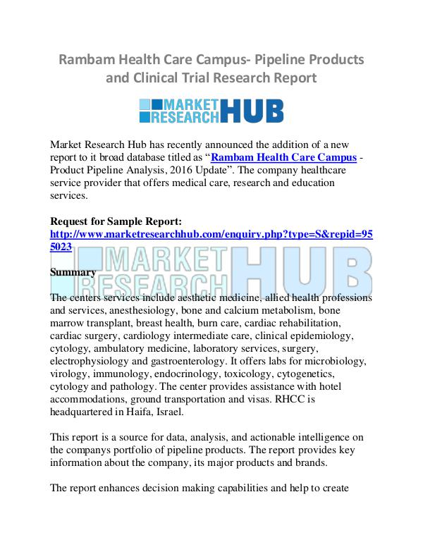 Market Research Report Rambam Health Care Campus- Pipeline Products