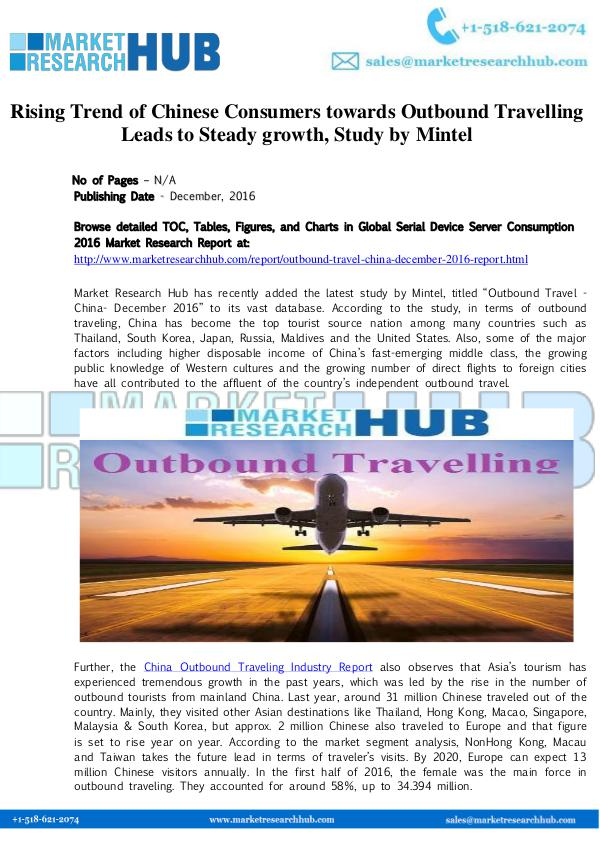 Market Research Report Chinese Consumers towards Outbound Travelling