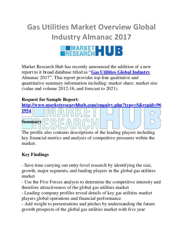 Market Research Report Gas Utilities Market Overview Global Industry