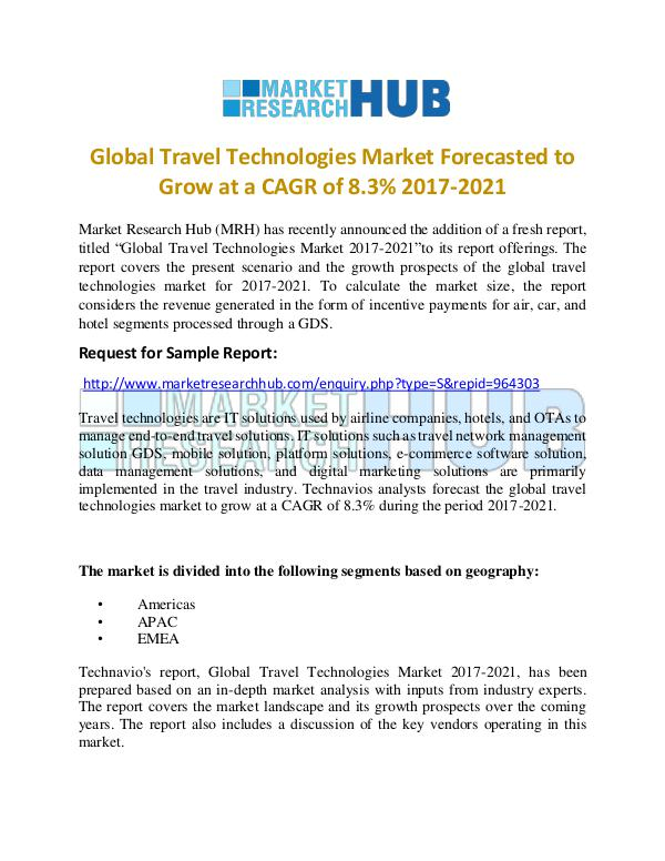 Market Research Report Global Travel Technologies Market Report